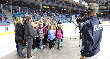 Parkcrest students sing O Canada at Kamloops Blazers Game